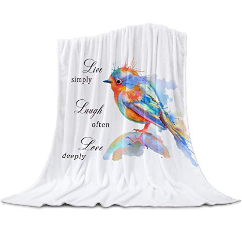 Animal Throw Blanket, 50x60inch Fluffy Flannel Blankets, Lightweight Bedding Accessories for Couch Bed Sofa Bedroom Home Office Decor, Beautiful Bird Watercolor Inkjet