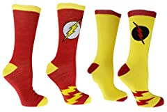 97% Polyester 3% Spandex Made in USA or Imported Officially licensedDC Comics Flash Socks Driven by the speed force! Great For Halloween or any fans of Newt Scarmander Fits Shoe size-6-12