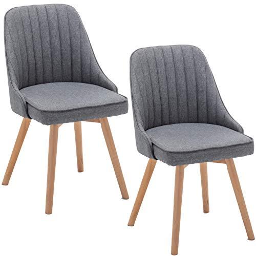 Deuline® 2 x Esszimmerstühle Esszimmerstuhl Küchenstuhl SGS Zertifiziert Massivholz Beine Polsterstuhl Retro Design Stühle Sessel Lehnstuhl Copenhagen Grau - Stoffbezug 521220