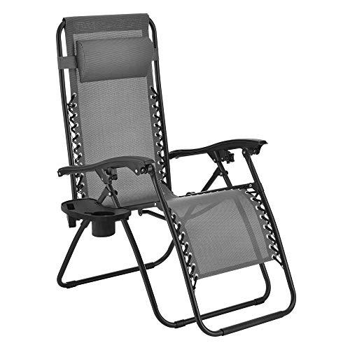 [en.casa] Liegestuhl klappbar und verstellbar Gartenstuhl 120 kg Klappliegestuhl mit Armlehne und Kopfpolster Relaxstuhl mit Getränkehalter Dunkelgrau