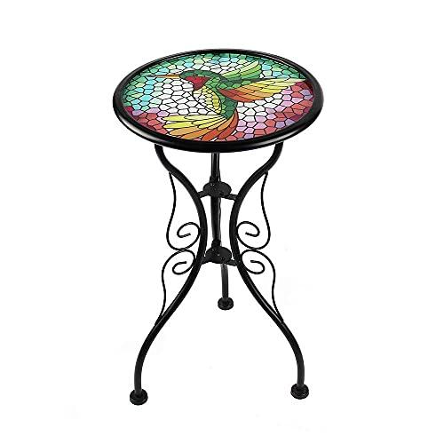 Liffy Mesa Auxiliar para Exteriores Hummingbird Escritorio de Vidrio Pintado Redondo para jardín, Patio o Comedor