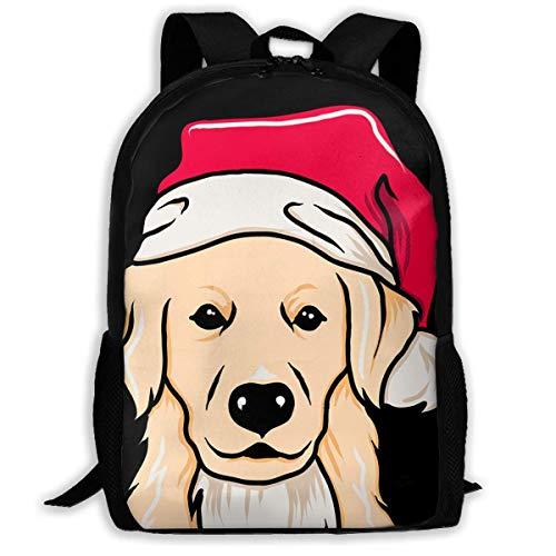 BUGKHD Golden Retriever con gorro de Papá Noel, mochilas de viaje elegantes,...