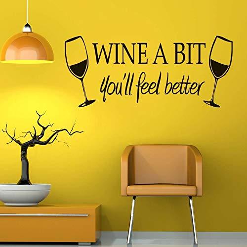 Tianpengyuanshuai muursticker van PVC, wijnmotief, voor de keuken, waterdicht, stickers van glas voor wijn