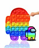 YFC Push Pop Bubble Sensory Fidget Toy-Autism Special Needs Stress Reliever Silicone Stress Reliever Toy, Squeeze Fidget Sensory Toy for Kids, Family, and Friends (Among us-Rainbow)