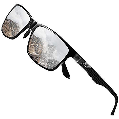 DUCO Herren Polarisierte Sonnenbrille mit Rechteckig Metallrahmen und Kohlefaser Brille Beine UV400 CAT 3 CE 8206 (Schwarz Rahmen Silber Linse)