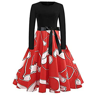 Sufeng Women's Vintage Print Long Sleeve Christmas Evening Party Swing Dress