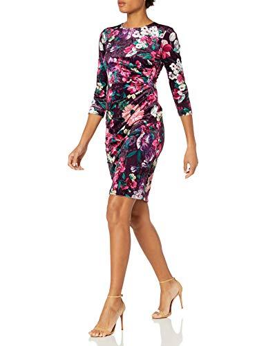 Eliza J Women's Long Sleeved Ruched Skirt Floral Velvet Bodycon Mini Dress Casual, Plum, 6