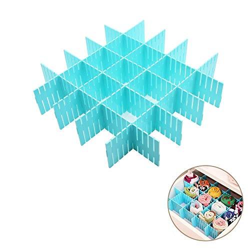 Onerbuy 8 unids Rejilla Ajustable Cajón Divisores DIY Plástico Separador de Armario Tidy Organizador Contenedor para Ropa Interior Calcetines Cinta Suministros de Oficina (Azul)