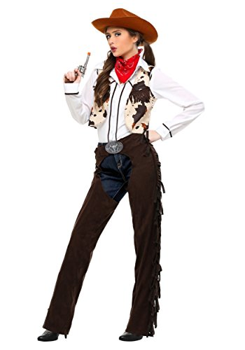 Women's Western Cowgirl Costume Adult Cowgirl Chaps Costume - L Brown,White
