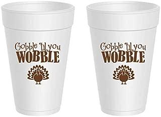 Thanksgiving Styrofoam Cups - Gobble Til You Wobble (10 cups)