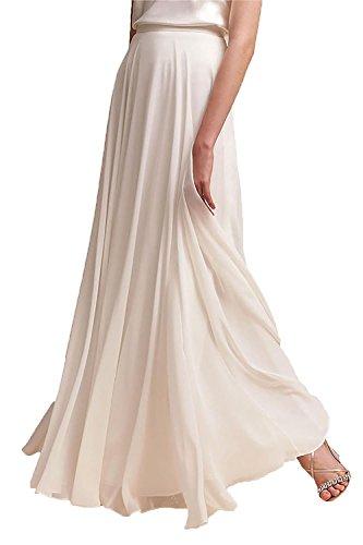 Omelas Women Long Floor Length Chiffon High Waist Skirt Maxi Bridesmaid Party Dress (Ivory, M)