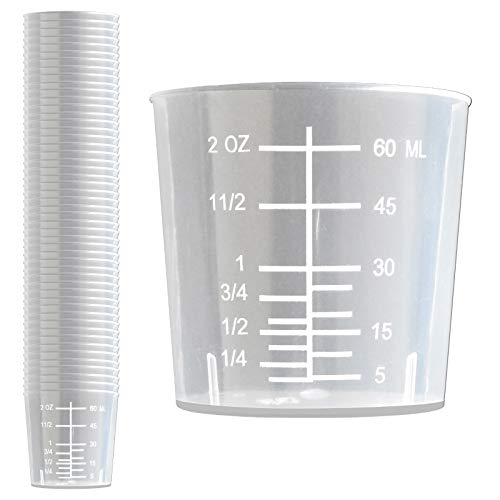 50 Pack - RE-GEN 60ml Graduated Clear Measuring Cups Pots Container Beaker Tubs - Ideal for Medicine, Kitchen Cooking, Catering, Medical Lab, Home