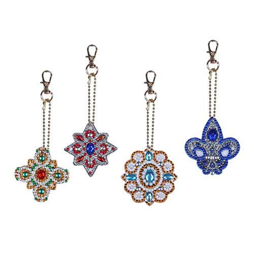 Baoblaze 4pcs DIY Diamond Painting Keychain Flowers, Diamond Painting Full Drill Keyring Keychain For Bag Handbag Phone Pendant