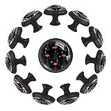 12 pomos de cristal de 35 mm para armario con forma de mosaico, diseño de flamenco, árbol de Navidad, forma de círculo, tiradores de cajón con tornillos para oficina en el hogar