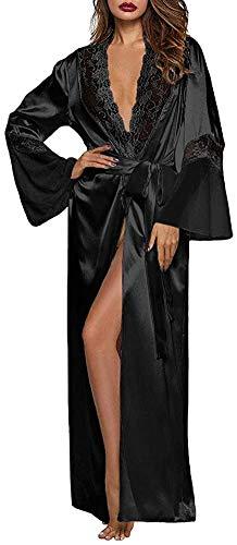 URMOSTIN Kimono Mujer Bata Largo Sexy Albornoz de Pijama Seda Satén Ropa de Dormir Batas Camisón con Cinturón