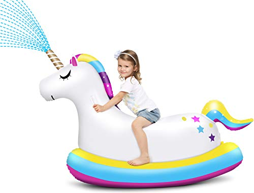LAYCOL Unicorn Sprinkler for Kids Giant Inflatable Unicorn Pool Float Ride On with Fast Valves Blow Up Swimming Pool Party Decorations Toys Yard Sprinkler for Adults