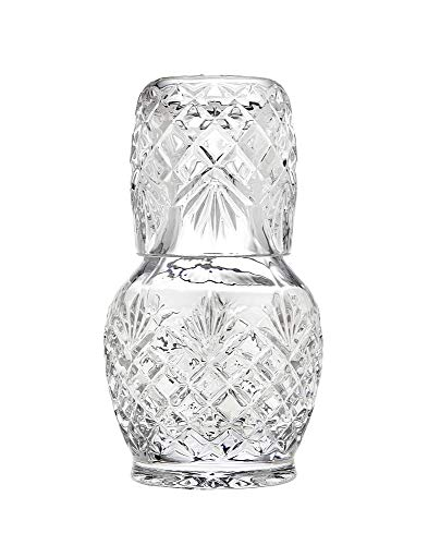 Godinger Shannon Night Water Carafe with Tumbler Glass - The Carafe Holds 16 oz, The Cup 8 oz - Beautiful Gift Box