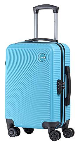 CABIN GO MAX 5571 - Trolley rigido in ABS grande valigia con ruote, 55 cm utilizzabile come bagaglio a mano di dimensioni standard (MX5512, celeste)