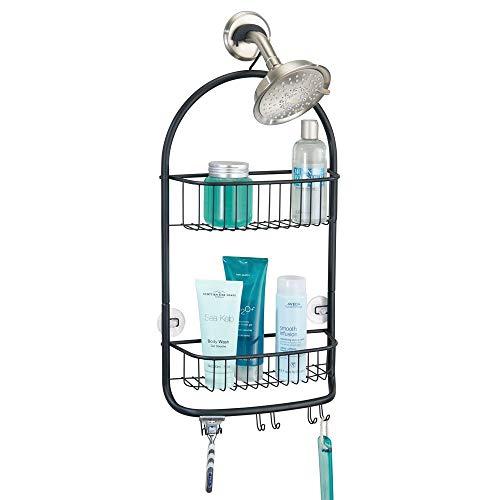 mDesign Duschablage zum Hängen über den Duschkopf (groß) - praktisches Duschregal ohne Bohren - mit Saugnäpfen - Duschkorb zum Hängen aus Metall für Shampoo, Rasierer & Co. - mattschwarz