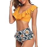 Mujer Conjunto De Traje de Baño Frill Bikini Tiras Talle Alto Tallas Grandes Estampado Floral sin Espalda Sexy Bikini Push-Up sin Espalda de Dos Piezas Ropa de Playa riou