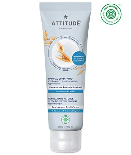 ATTITUDE Fragrance Free Conditioner, Hair Conditioner for Sensitive Skin, Extra Gentle & Volumizing Unscented Conditioner, With Soothing Oatmeal, EWG Verified, Fragrance Free, 8.1 Fl. Oz