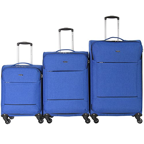 Shaik ® Serie FLEDER Design PVG 3 Größen M | L | XL | Set | Softcase Weichgepäck Kofferset, 4 Doppelrollen, Zahlenschloss … (Set, Blau)