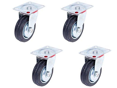 Transportrollen Möbelrollen 4 Stück Lenkrollen 75 mm Apparaterollen Schwerlastrollen - Vollgummi Räder mit Stahlblechfelge - 4er Set lenkbare Rollen