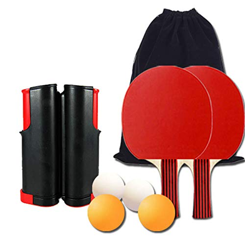 Great Price! Honeystore 8 Piece Retractable Ping Pong Net Set Table Tennis Accessories with 2 Paddle...