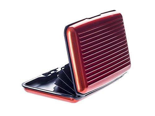 VALLET® Kreditkartenetui aus Aluminium - für Damen und Herren - blockiert RFID und NFC – für Kreditkarten Personalausweis EC-Karten - kartenetui kartenhülle portmonee geldbörse (orange)