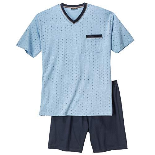 Götzburg XXL V-Neck Pyjama kurz hellblau Gemustert, deutsche Größe:60