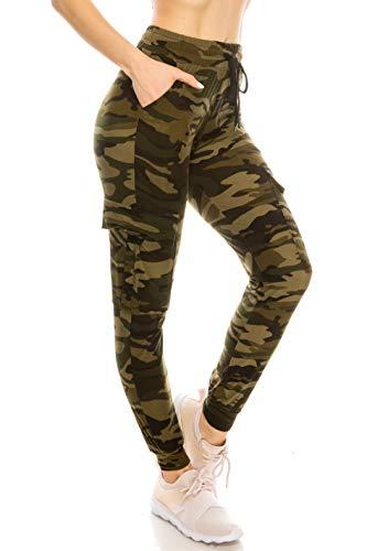 ALWAYS Women's Camo Cargo Jogger Sweatpants - Skinny Fit Lightweight Premium Soft Stretch Pockets Pants 143 M