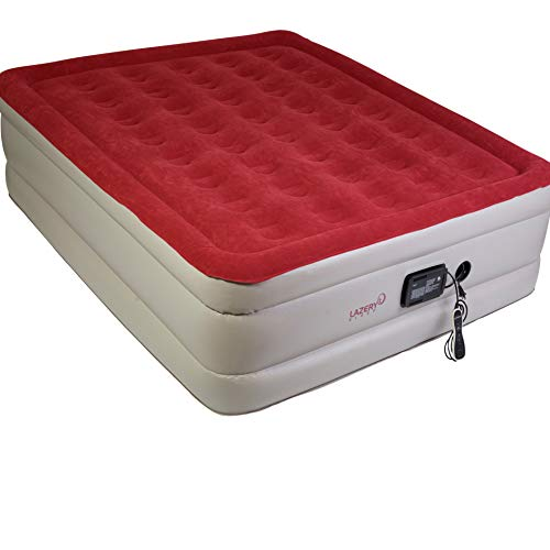 Lazery Sleep Air Mattress Airbed with Built-in Electric 7 Settings Remote LED Pump, (Queen)