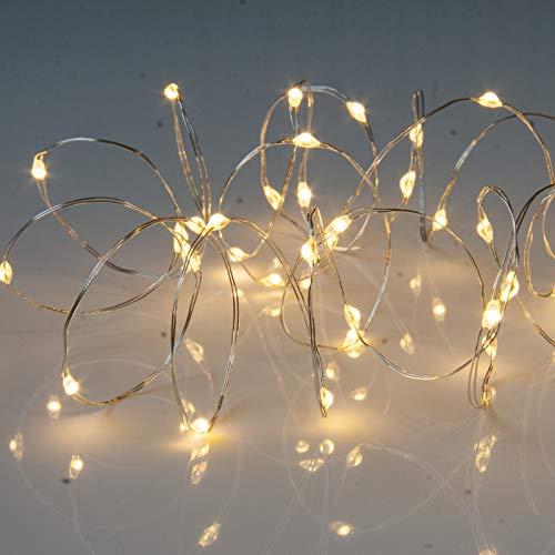 Micro Wire String Lights with Timer. Battery Powered Christmas Fairy Lights from Qbis (40 Warm White)