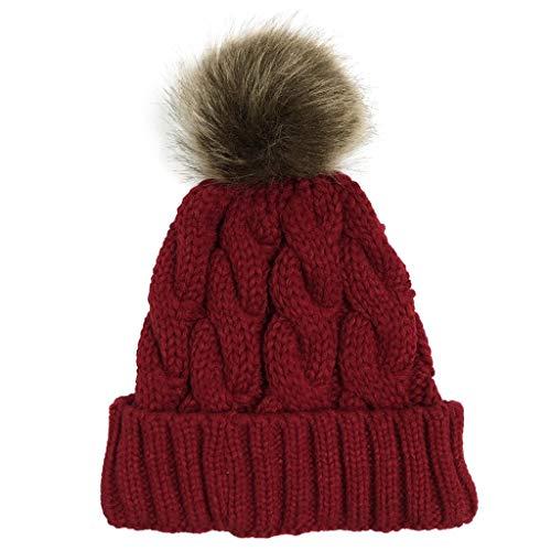 INLLADDY Damen Strick-Mütze gefüttert mit Fell-Bommel Kunstfell Winter-Mütze Bommelmütze Weinrot 55~63cm
