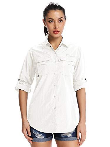 Jessie Kidden Damen-Hemd mit LSF 50+, UV-Schutz, Safari-Shirt, langärmelig, kühl, schnelltrocknend, Angeln, Wandern, Gartenarbeit Gr. XXL, 5055 #Weiß