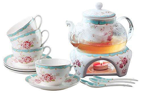 ANXI Juego de café de té del Vintage Rose Flor de la Serie Taza de café-Taza de té platillo Cuchara Conjunto con La Tetera cálido y filtrar (Color : A)