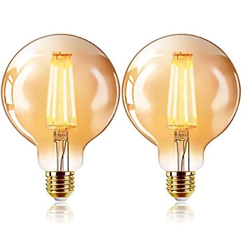 ExtraStar Edison Vintage Glühbirne, G95 E27 LED Filament Lampe, 4W Ersetzt 40W Glühlampe, 400 LM, 2200K Warmweiß, Amber Glas, Nicht Dimmbar, 2 Stück