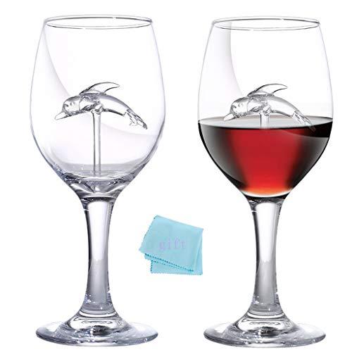 Dolphin - Juego de 2 copas de vino tinto de 300 ml / 30 cl, grandes copas de vino blanco ultra largas, bonito vaso moderno para la casa, restaurante y fiestas y recepciones, juego de 2 copas de vino