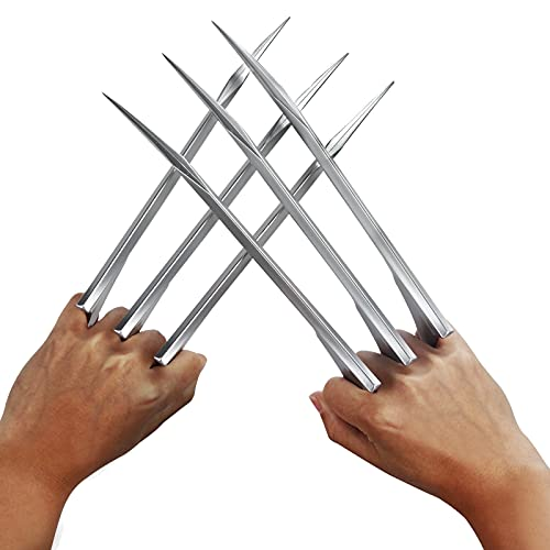 Superhero 1pair Durable Plastic Wolverine Claws Blade Figure for Halloween Costume Party Cosplay Props Silver