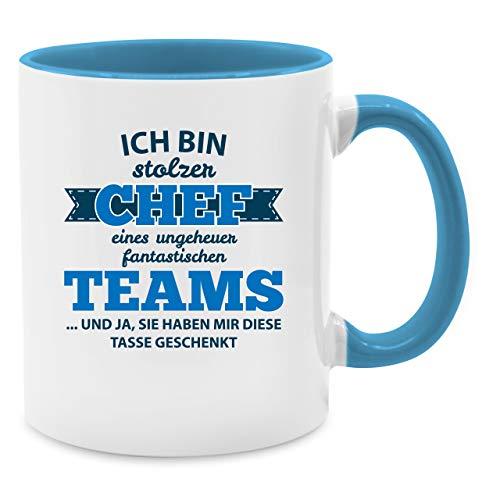 Tasse Berufe - Stolzer Chef eines fantastischen Teams - Unisize - Hellblau - chef eines fantastischen teams - Q9061 - Kaffee-Tasse inkl. Geschenk-Verpackung