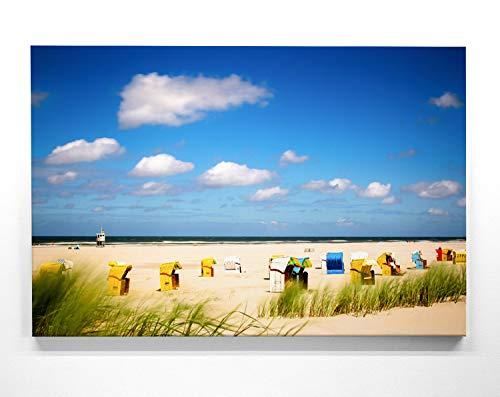 BilderKing Atemberaubendes Nordsee Panorama Leinwand-Bild 120x80cm, Motiv Juist Strand-Körbe. EIN einzigartiges XXL Wandbild als Deko für Wohnzimmer, Schlafzimmer, Küche. Aufgespannt auf Holzrahmen