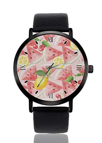 Sandía Limón reloj de pulsera de mujer ultra fino caso extremadamente simple...