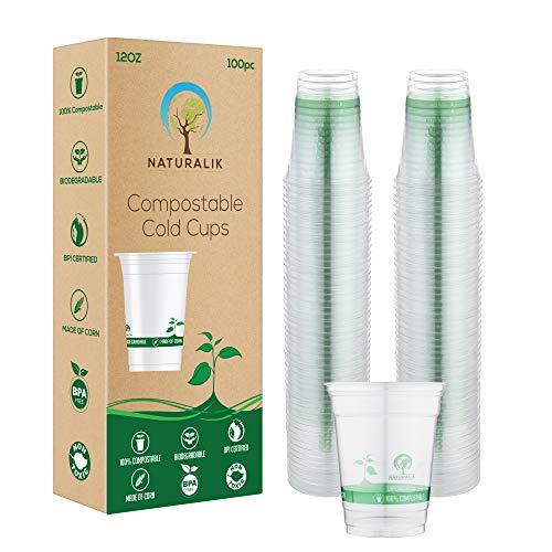 Naturalik 100% biologisch afbreekbare en composteerbare koude koppen- op planten gebaseerde heldere kopjes | 12 Ounce Party Cups | 100 kopjes