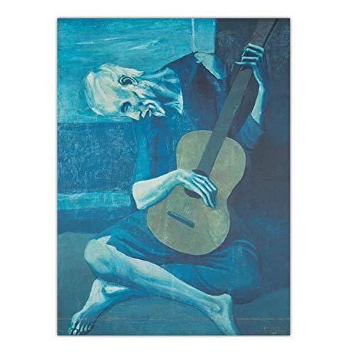 ZQXXX Picasso lienzo abstracto pintura el viejo guitarrista ciego cuadros de pared para sala de estar impresión surrealista arte de pared -50x70cm sin marco
