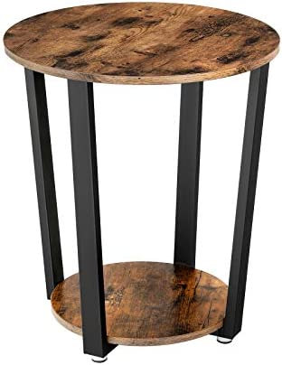 Best VASAGLE Industrial End Table, Metal Side Table, Round Sofa Table with Storage Rack, Stable and Sturd