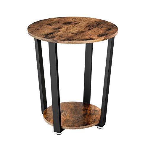 VASAGLE Runder Beistelltisch, Kaffeetisch im Industrie-Design, einfacher Aufbau, Sofatisch mit Eisengestell, Tisch für Wohnzimmer, Schlafzimmer, stabil, Holzoptik Vintage LET57X