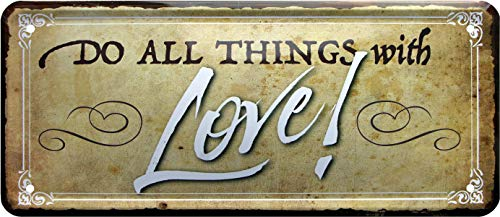 Do All Things with Love ! 695 Plaque décorative en tôle 28 x 12 cm