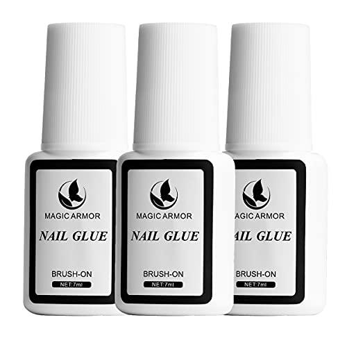 MAGIC ARMOR 3 Flaschen Nagelkleber 7ml Nagelkleber mit Pinsel nagelkleber für tips nagelkleber für kunstnägel nagelkleber extra stark zur Reparatur von eingerissenen Naturnägeln nail glue