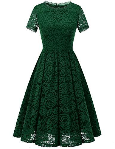 DRESSTELLS Damen Midi Elegant Hochzeit Spitzenkleid Kurzarm Rockabilly Kleid Cocktail Abendkleider DarkGreen M