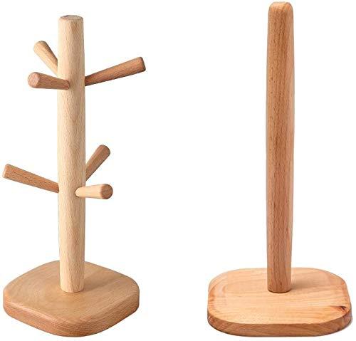 Árbol de madera de la taza y portarrollos de Cocina ,con 6 ganchos de almacenamiento, soporte de madera desmontable, para organizador de tazas de cocina, taza de café de secado